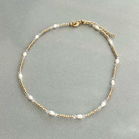 (362)gold clear beads & fresh water pearl necklace