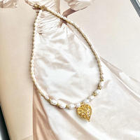 (308)hollow heart charm & fresh water pearl necklace 【淡水パール】