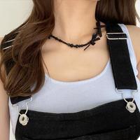 (409)lovely black ribbon necklace