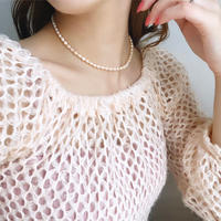 (68) fresh water pearl necklace 【淡水パール medium pink】