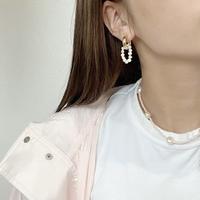 (131)2way hoop & rice pearl pierce