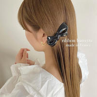 (260)ribbon barrette made in France 【double ribbon】