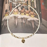 (252)Heart charm & fresh water pearl necklace 【淡水パール】