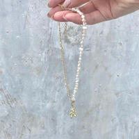 (323) half chain & fresh water pearl bear charm necklace 【淡水パール)