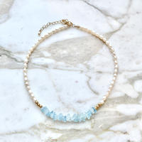 (251)natural stone & fresh water pearl necklace 【天然石/淡水パール】