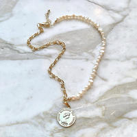 (256)half chain & fresh water pearl medal coin necklace 【淡水パール)