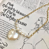 (402)heart pearl & gold chain necklace
