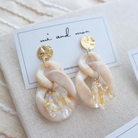 Acrylic parts beige  pierce/earring