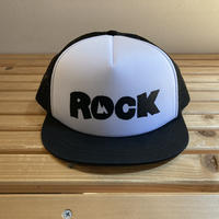 huntstored『ROCK』FLAT SHORT MESH CAP  (ホワイト×ブラック)