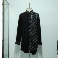 【サンプル】バイアスチェックロングシャツ
