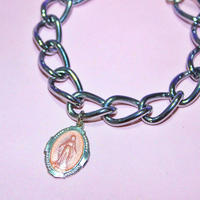ピンクメダイチェーンブレスレット/ Pink Medal chain bracelet