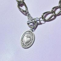 ハートメダイビッグチェーンブレスレット/ Heart Medal Big Chains Bracelet