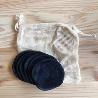 竹繊維パフ(6枚入り・メッシュバッグ付き)