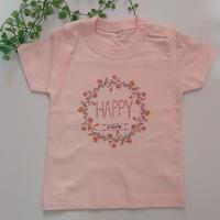 オーダーTシャツ♡お名前入り!キッズ&ママ♡HAPPYリースTシャツ~サイズ100~XL♪Tシャツのカラー数色より選べます