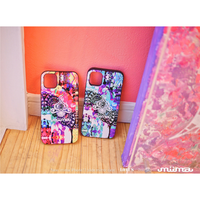 ≫  iPhoneX,XSケース(ミラー付&カード収納&耐衝撃)★Lotus-Pink/Blue