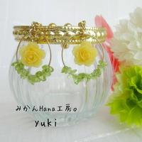 【yk101】小さなバラのフープイヤリング [ピアス変更可] (フラージュ)