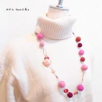 【mk101】羊毛フェルト2wayネックレス(赤系]〈ロザフィ〉