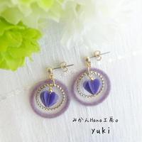 【yk307】フロッキーフープピアス 〜ライラック〜 [イヤリングへ変更可](美乃花)