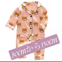 (ピンク)子供パジャマ上下セット。生地はシルクバランスよく各種色 サイズ揃えました