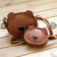 クマのバック 革 メッセンジャーバッグ 本体ミニ財布  レザーショルダーバッグ