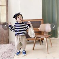 韓国風子供服 韓国ファッション 可愛い ボーダー柄トップス 暖かい