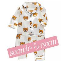 (ホワイト)子供パジャマ上下セット。生地はシルクバランスよく各種色 サイズ揃えました