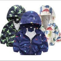 子供ジャケット秋春子供上着コートかわいい恐竜漫画ジャケット男の赤ちゃん女の子ウインドブレーカー