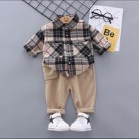 秋春男の子ファッションフォーマルな服のセット子供スーツセット格子縞のシャツパンツ2パック/セット子供服セット1 2 3 4 5年