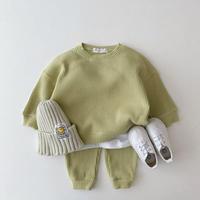 【70cmから120cm】【グリーン】色違い二着購入10%オフ。韓国セットアップ。セーターとパンツ