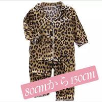 (豹柄)秋に子供パジャマ上下セット。生地はシルク バランスよく各種色 サイズ揃えました