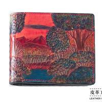 二つ折り財布 箱 風景 赤【07FWB-LS-RD】