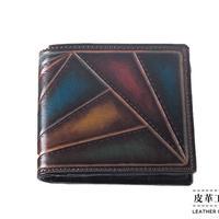 二つ折り財布 箱 幾何学 こげ茶【07FWB-KI-DB】