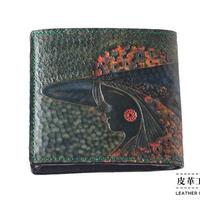 二つ折り財布 箱 横顔 緑【07FWB-GF-GN】