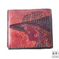 二つ折り財布 箱 横顔 紫【07FWB-GF-PP】