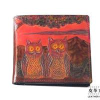 二つ折り財布 箱 フクロウ 赤【07FWB-OL-RD】