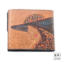 二つ折り財布 横顔 ベージュ【07FW-GF-BG】