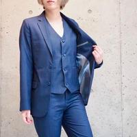 メッシュブルー3ピーススーツ