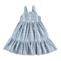 残り1【tocoto vintage】sleeveless check dress - blue