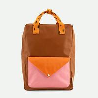 【sticky lemon】large backpack sprinkles | envelope | syrup brown + carrot orange + bubbly pink