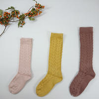【condor size 0, 2】Crochet  knee  socks - old rose , mustard , praline