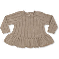 【konges sloejd】FORTUNE FRILL KNIT POINTELLE - BROWN MELANGE
