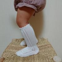 【condor】pearl side open work high socks size 4