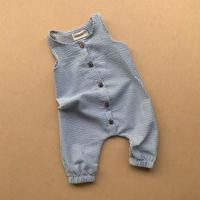 【 bel & bow】Seersucker Jumpsuit - Duck Egg Blue Stripe