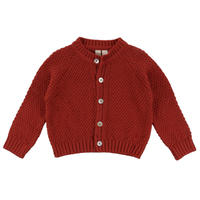 【little cotton clothes】HASTINGS COTTON MOSS STITCH CARDIGAN – RUST