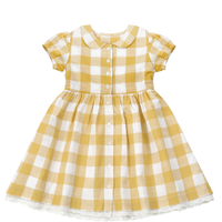 last 1【little cotton clothes】  Audrey dress  Custard Textured Gingham