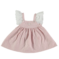 last 1【tocoto vintage】striped mini dress with swiss embroided sleeves - pink (12m,18m)