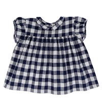 last1【little cotton clothes】JUNO BLOUSE – NAVY BLUE TEXTURED GINGHAM