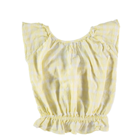 【tocoto vintage】vichy squares blouse with ruffled low neckline back - yellow