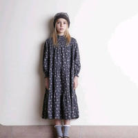 【tocoto vintage】Flower print long dress with ruffled neck - Dark Brown