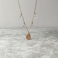 オレンジサファイアの原石&天然石ネックレス